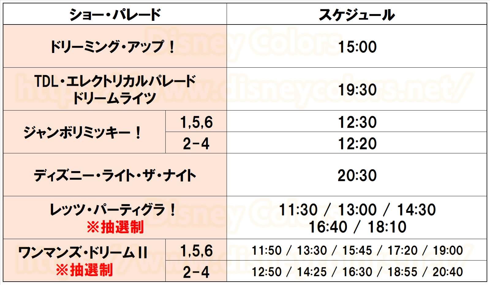 東京ディズニーランド ショースケジュール 2019年11月1~6日